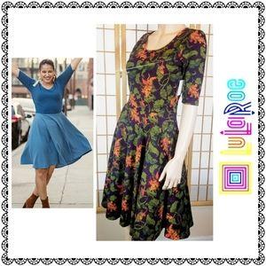 {LuLaRoe} NICOLE dress, plum/orange leaf print, M